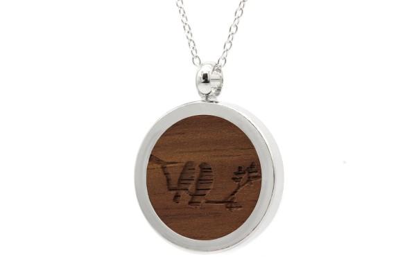 Halskette mit Anhänger Holz Vögel Gravur