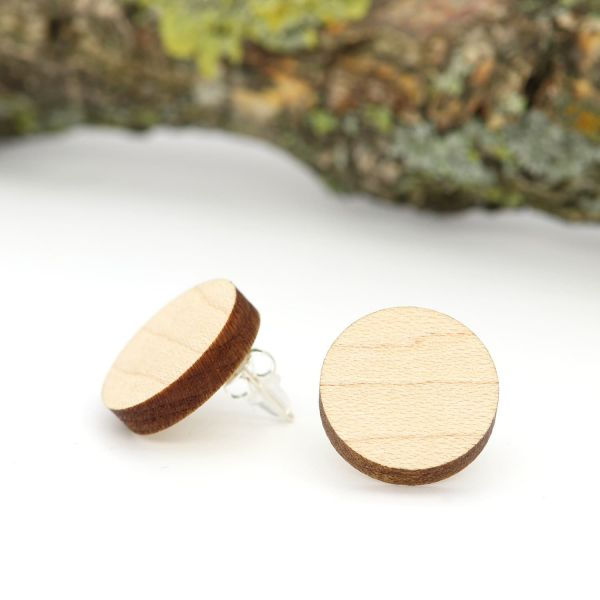 Holzohrringe Ahorn Holz Rund